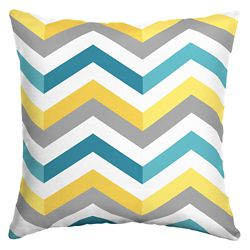 Hampton Bay 16 X 16 X 5 inch Outdoor Throw Pillow with Geo Multi Chevron Square
