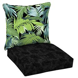 Hampton Bay Patio Deep Seating or Outdoor Dining Chair Cushion in Black Tropicalia - (2-Piece)