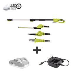 Sun Joe 24V Cordless Electric Lawn Care System Hedge Trimmer, Pole Saw, and Leaf Blower Kit with 2.0 Ah Battery + Charger