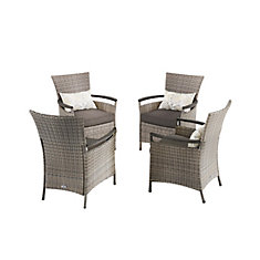Franklin Estates 5-Piece All-Weather Wicker Patio Dining Set with Brown Cushions