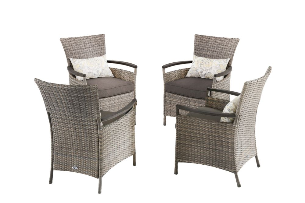 Hampton Bay Franklin Estates 5-piece All-Weather Wicker Patio Dining Set with Brown Cushions