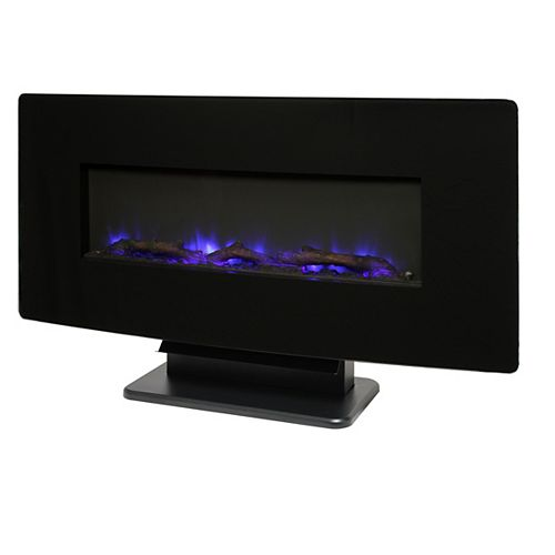 Muskoka 36-inch Glass Curved Front Wall-Mount Electric Fireplace in Black