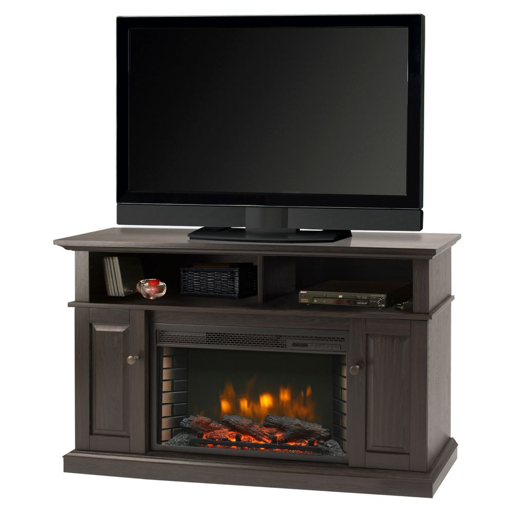 Muskoka 42 Inch Wall Mount Electric Fireplace In Zinc The Home Depot Canada