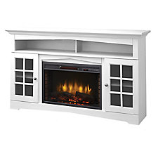 Huntley 59-inch Electric Fireplace and Media Stand in White