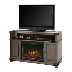 Hudson 53-inch Freestanding Electric Fireplace TV Stand in Dark Weathered Grey