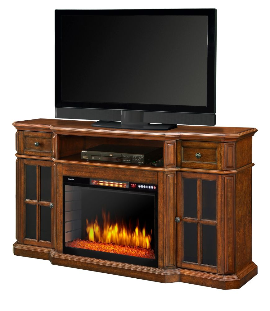 Muskoka Sinclair 60 Inch Media Fireplace w/LED Lights and Bluetooth - Aged Cherry