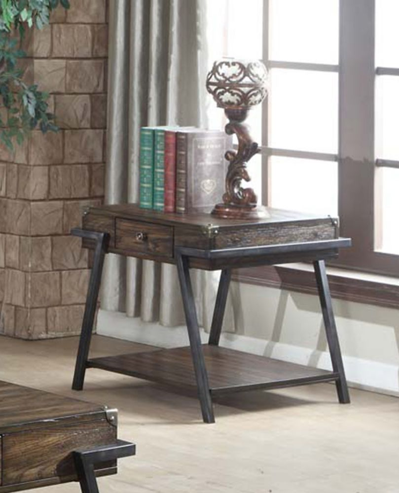 Brassex Inc. Magnum End Table, Dark Walnut