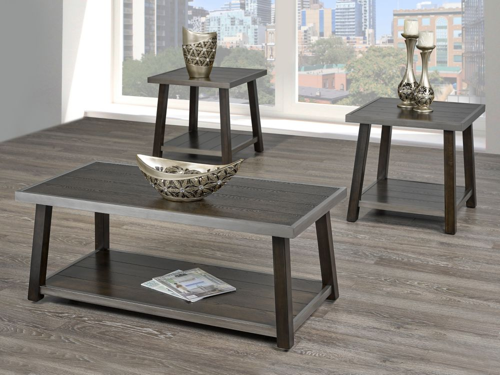 Brassex Inc. Indira 3-Piece Coffee Table Set, Walnut