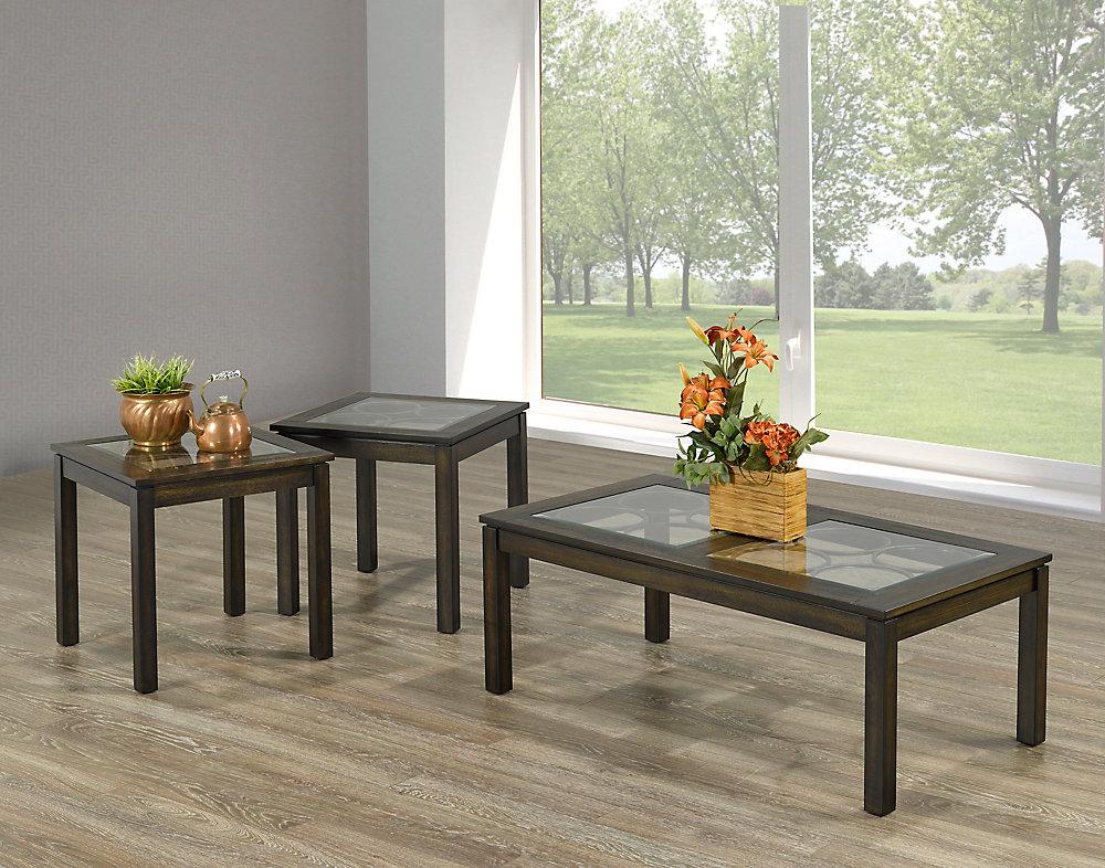 675e9f718b Brassex Inc. Tuscan 3-Piece Coffee Table Set, Walnut   The Home ...