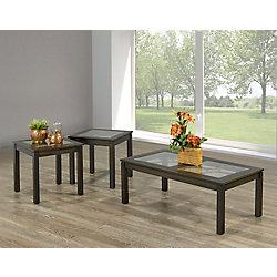 Brassex Inc. Tuscan 3-Piece Coffee Table Set, Walnut