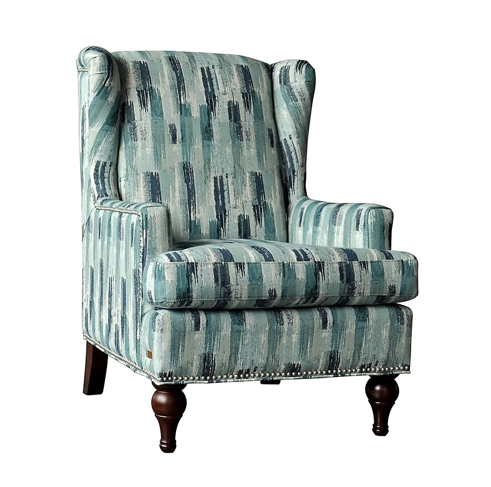 Enjoyable Adelle Contemporary Wingback Polyester Polyester Blend Accent Chair In Blue With Chevron Pattern Ocoug Best Dining Table And Chair Ideas Images Ocougorg