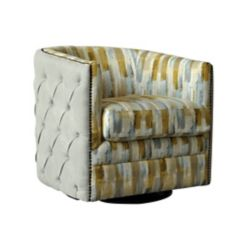 Brassex Inc. Ackton Contemporary Club Polyester/Polyester Blend Accent Chair in Beige with Chevron Pattern