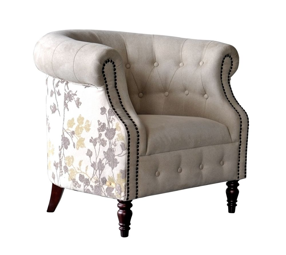 Brassex Inc. Arianna Contemporary Club Polyester/Polyester Blend Accent Chair in Beige with Floral Pattern
