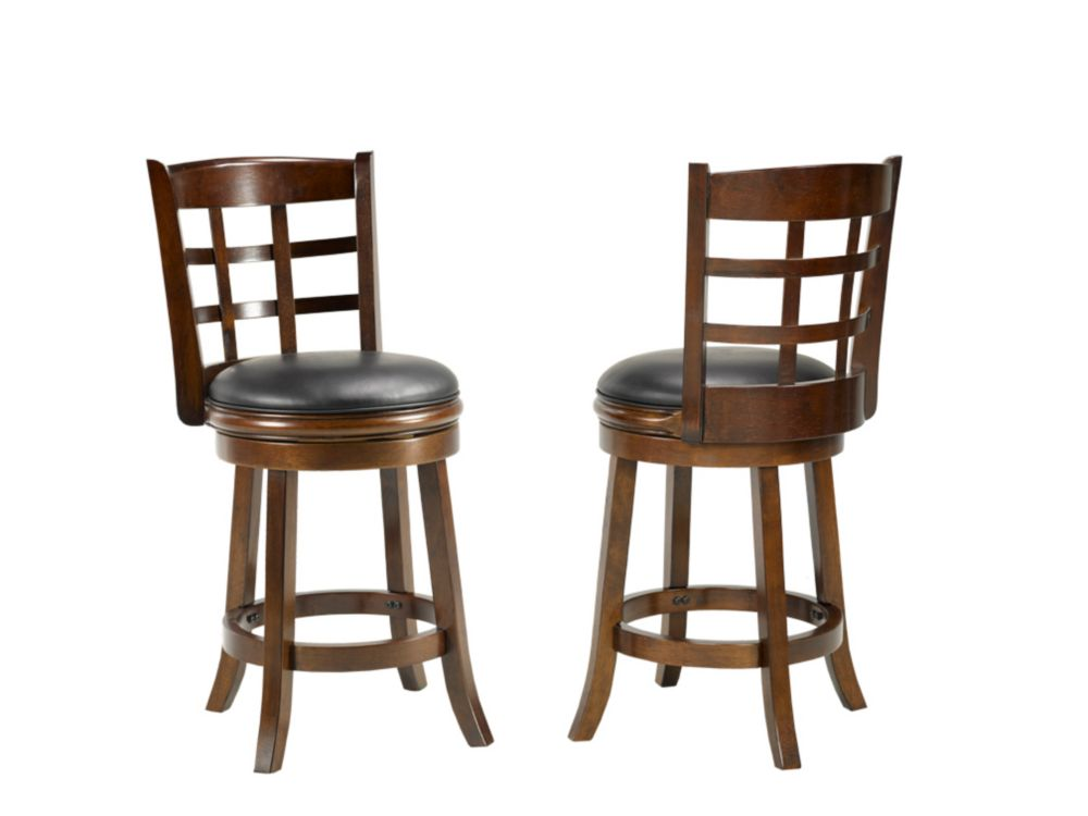 Brassex Inc. Manchester 24' Bar Stool, (Set of 2), Espresso