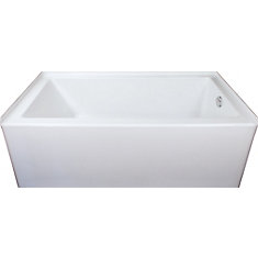 Austin 5 ft. Alcove Rectangular Skirted Bathtub (Right Drain) in White