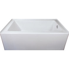 Adora Acrylic Skirted Bath Right Hand in White