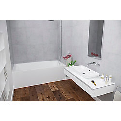 Mirolin 66-inch x 20-inch H Corra Skirted Acrylic Bath Right Hand in White