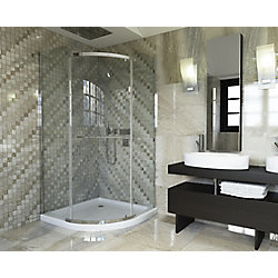 Mirolin 38-inch W x 72-inch H Semi-Framed Neo-Angle Curved Shower Door in Glass with Chrome Hardware