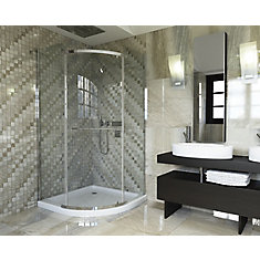 38-inch W x 72-inch H Semi-Framed Neo-Angle Curved Shower Door in Glass with Chrome Hardware