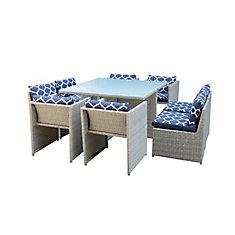 Ensemble table et chaises de jardin, rotin, 9 pièces