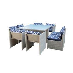 Hampton Bay Ensemble table et chaises de jardin, rotin, 9 pièces
