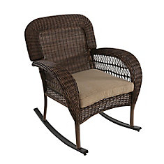 Beacon Park All-Weather Wicker Rocking Dining Chair with Toffee Tan Cushion