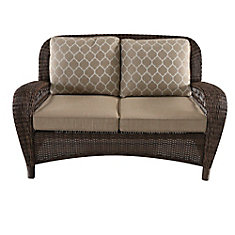 Beacon Park All-Weather Wicker Patio Loveseat with Toffee Tan Cushion