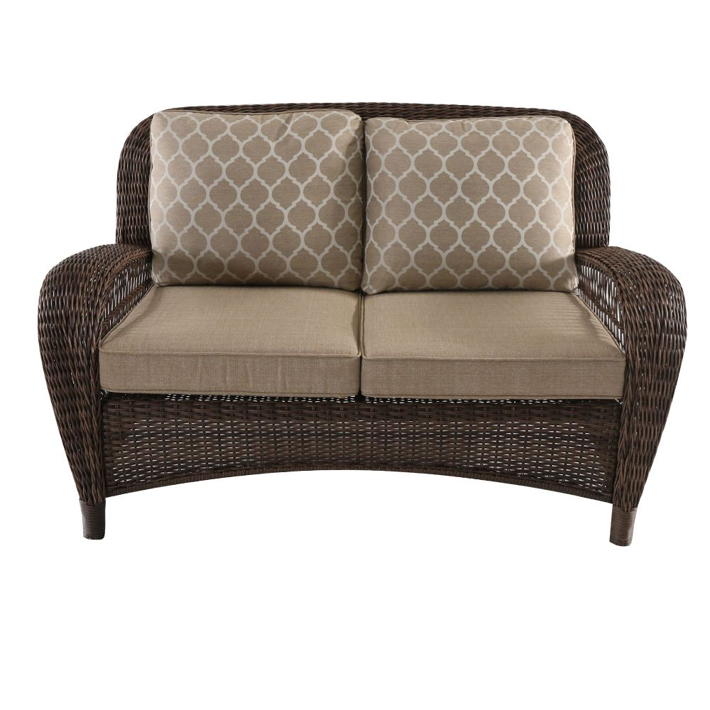 Hampton Bay Beacon Park Wicker Outdoor Patio Loveseat with Toffee Cushions
