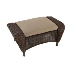 Hampton Bay Beacon Park Wicker Outdoor Patio Ottoman with Toffee Cushions