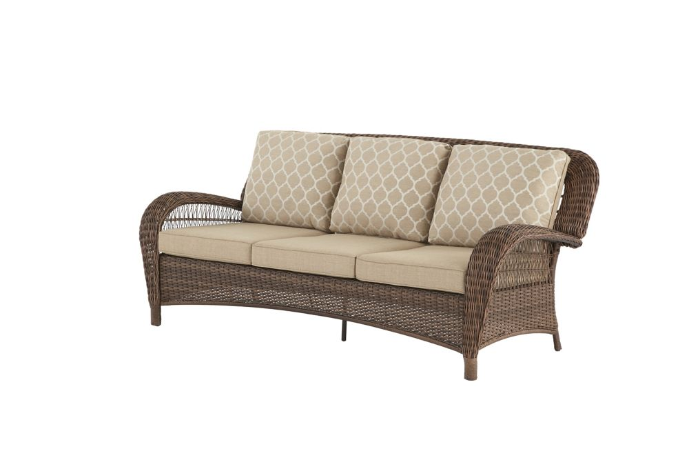 Hampton Bay Beacon Park Steel Wicker Outdoor Patio Sofa With Toffee Cushions The Home Depot Canada