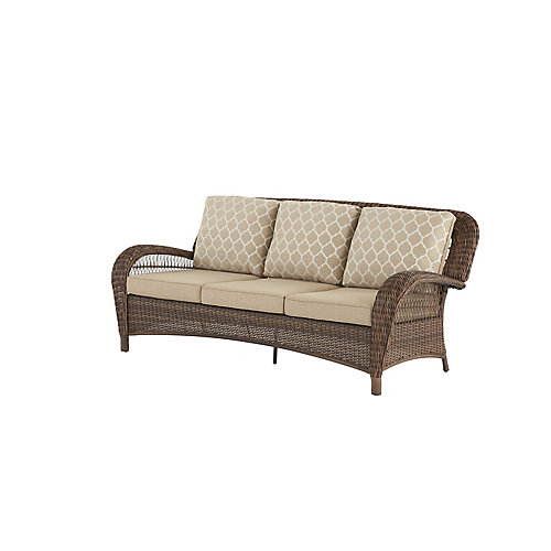 Beacon Park Steel Wicker Outdoor Patio Sofa with Toffee Cushions