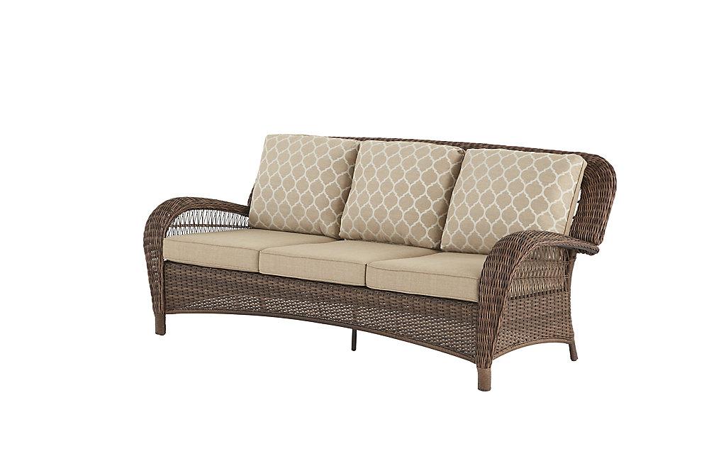 24ab09c5be Hampton Bay Beacon Park Steel Wicker Outdoor Patio Sofa with Toffee Cushions