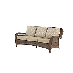 Hampton Bay Beacon Park Steel Wicker Outdoor Patio Sofa with Toffee Cushions