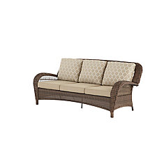 Beacon Park All-Weather Wicker Patio Sofa with Toffee Tan Reversible Cushion