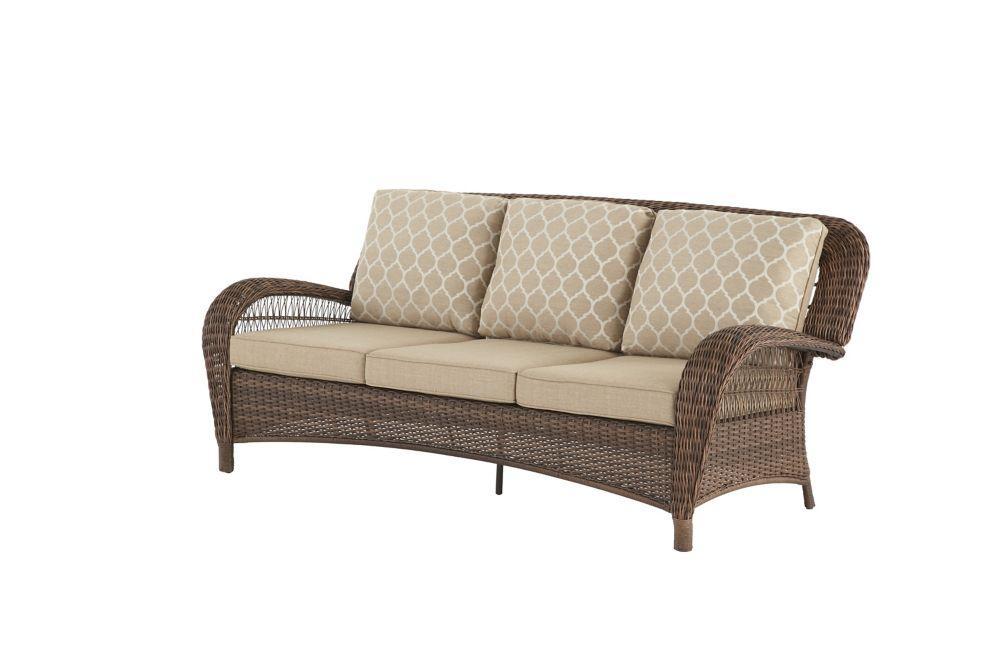 Hampton Bay Beacon Park Steel Wicker Outdoor Patio Sofa with Toffee Cushions