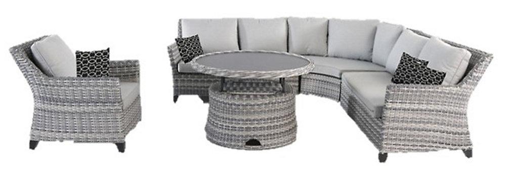 Salon de jardin modulable toute saison Siesta Key avec coussins gris,  osier, 5 pièces