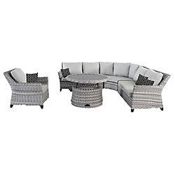 Hampton Bay Siesta Key 5-Piece All-Weather Wicker Patio Sectional Set with Grey Cushion
