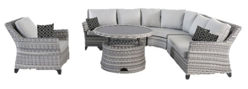 Hampton Bay Siesta Key 5-Piece All-Weather Wicker Patio Sectional Set with Grey Cushion