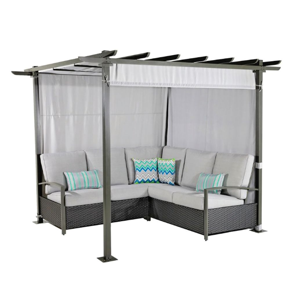 hampton bay crown view grey 7 piece all weather wicker and steel patio dining set with grey. Black Bedroom Furniture Sets. Home Design Ideas