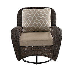 Beacon Park Wicker Outdoor Patio Swivel Lounge Chair with Toffee Cushions
