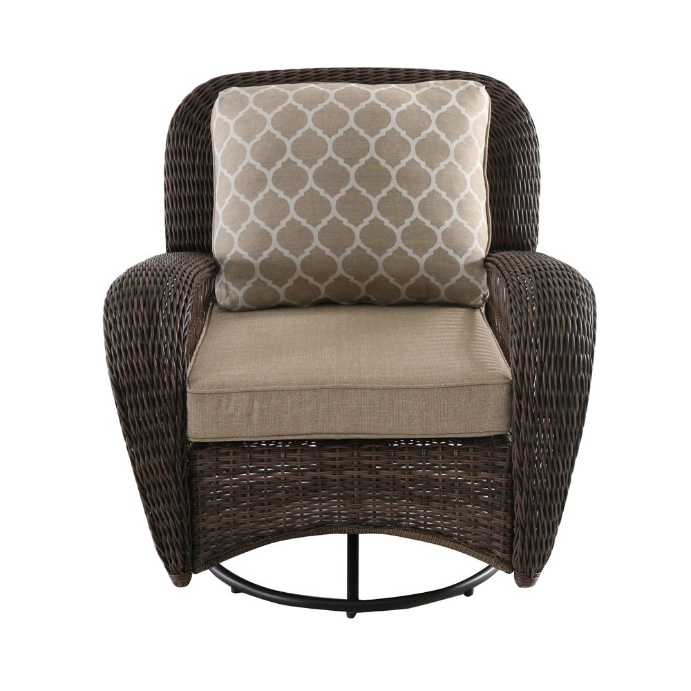 Hampton Bay Beacon Park Wicker Outdoor Patio Swivel Lounge Chair with Toffee Cushions