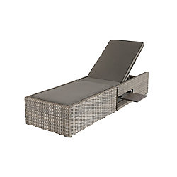 Hampton Bay Franklin Estates All-Weather Wicker Patio Chaise Lounge with Brown Cushion