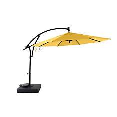 11 ft. Offset Solar Patio Umbrella with Base in Daffodil Yellow