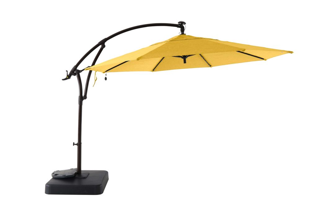 Hampton Bay 11 ft. Offset Solar Patio Umbrella with Base in Daffodil Yellow