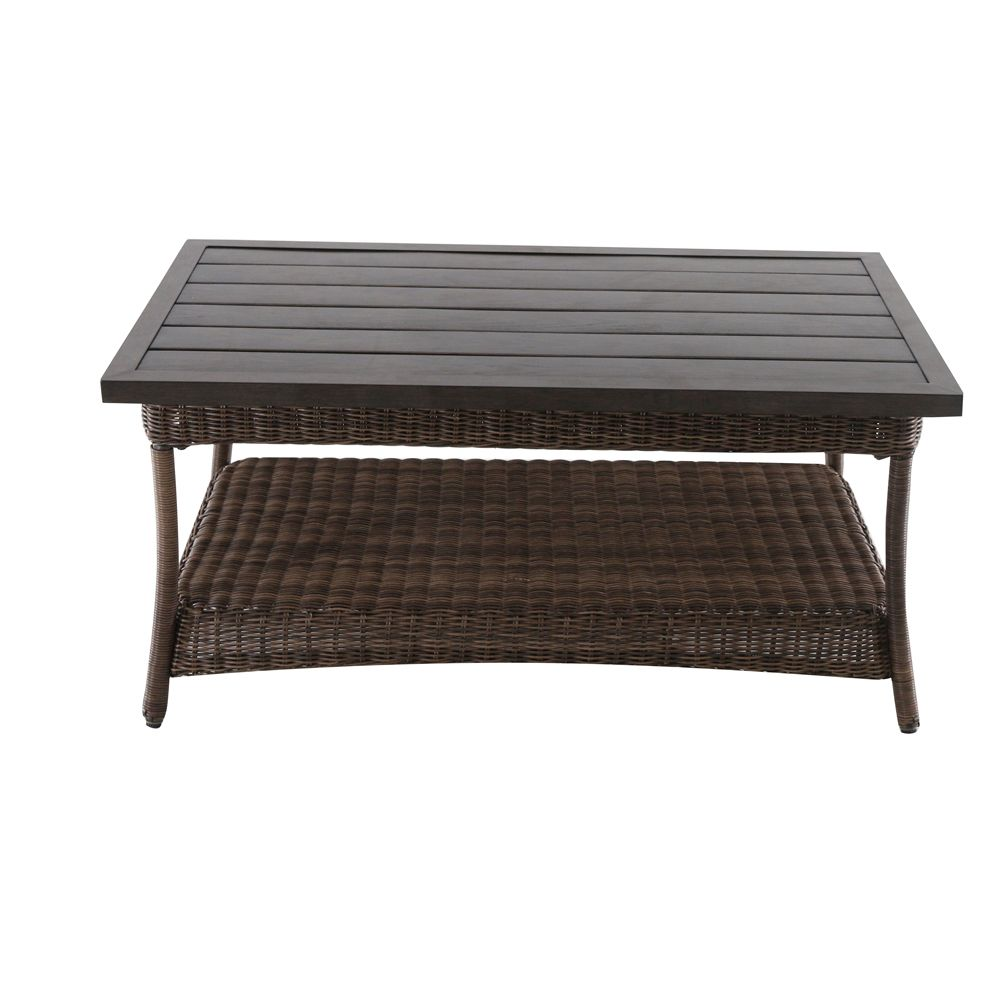 - Hampton Bay Beacon Park All-Weather Wicker Patio Coffee Table