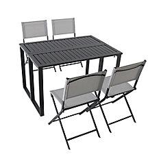 Ensemble de table et chaises de jardin pliantes Ocean Spring, 5 pièces