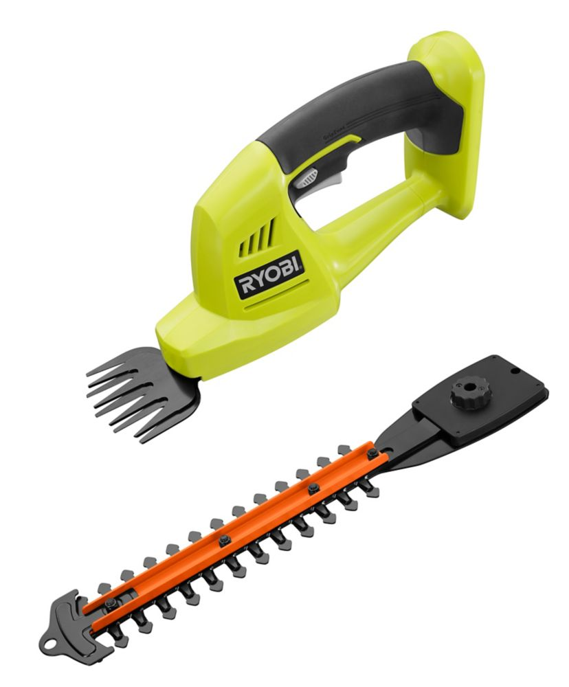 RYOBI 18V ONE+ Lithium-Ion Cordless Grass Shear and Shrubber Trimmer w/ 1.3 Ah Battery and Charger