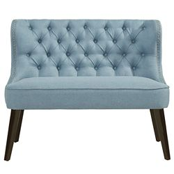 !nspire Biscotti Solid Wood Frame Bench in Blue