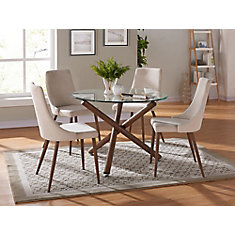 Cora Solid Wood Walnut Parson Armless Dining Chair with Beige Polyester Seat - Set of 2