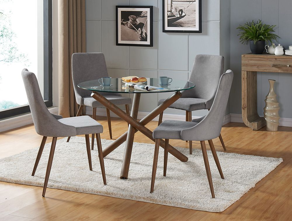 !nspire Cora Solid Wood Walnut Parson Armless Dining Chair with Grey Polyester Seat - Set of 2